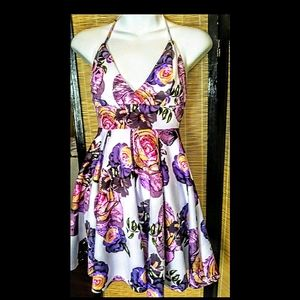 Revamped floral purple and pink mini dress